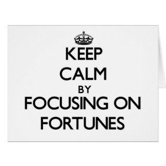 Guarde la calma centrándose en fortunas felicitacion