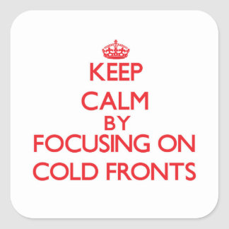 Guarde la calma centrándose en frentes fríos pegatina cuadrada