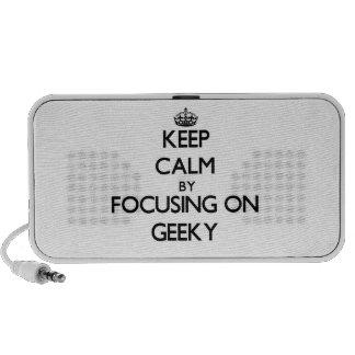 Guarde la calma centrándose en Geeky Laptop Altavoces