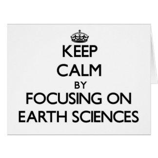 Guarde la calma centrándose en geologías tarjeta de felicitación grande