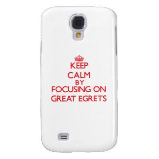 Guarde la calma centrándose en grandes Egrets Funda Para Galaxy S4
