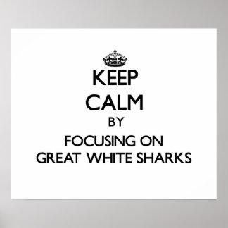 Guarde la calma centrándose en grandes tiburones b