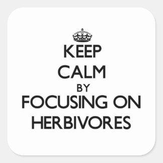 Guarde la calma centrándose en herbívoros pegatina cuadrada