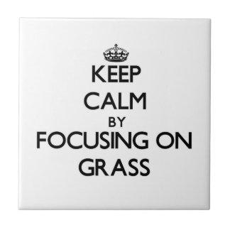 Guarde la calma centrándose en hierba azulejo cuadrado pequeño