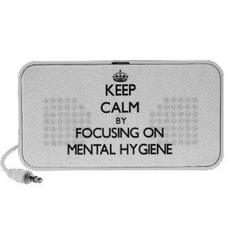 Guarde la calma centrándose en higiene mental notebook altavoz