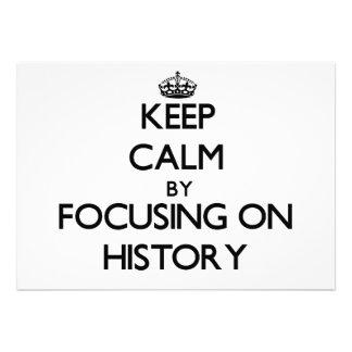 Guarde la calma centrándose en historia comunicados personalizados
