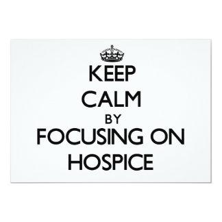 """Guarde la calma centrándose en hospicio invitación 5"""" x 7"""""""