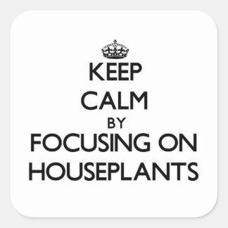 Guarde la calma centrándose en Houseplants Pegatina Cuadrada