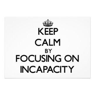 Guarde la calma centrándose en incapacidad