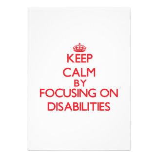 Guarde la calma centrándose en incapacidades comunicados personales