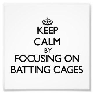 Guarde la calma centrándose en jaulas de bateo fotografia