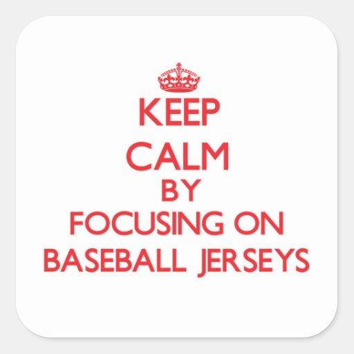 Guarde la calma centrándose en jerseys de béisbol calcomanías cuadradass