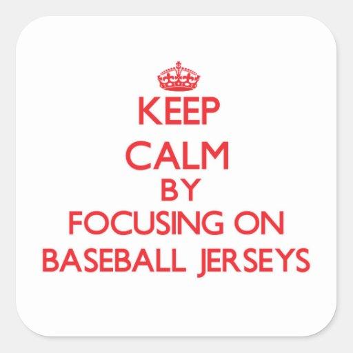 Guarde la calma centrándose en jerseys de béisbol calcomanía cuadradas personalizada