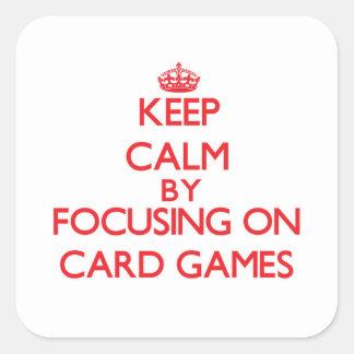Guarde la calma centrándose en juegos de tarjeta pegatina cuadrada