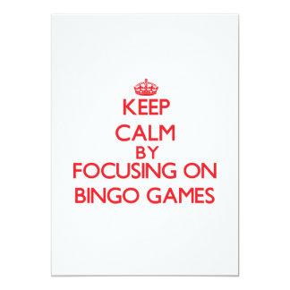 Guarde la calma centrándose en juegos del bingo invitacion personal