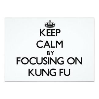 Guarde la calma centrándose en Kung Fu Invitación 12,7 X 17,8 Cm