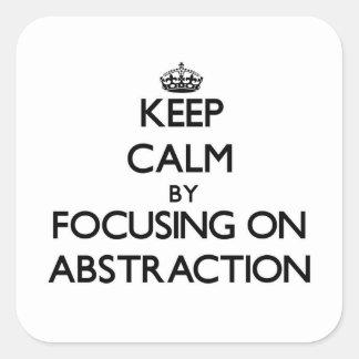 Guarde la calma centrándose en la abstracción calcomanía cuadradas personalizadas