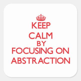 Guarde la calma centrándose en la abstracción pegatina cuadradas personalizadas