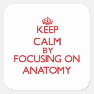 Guarde la calma centrándose en la anatomía pegatina cuadrada
