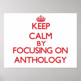 Guarde la calma centrándose en la antología póster
