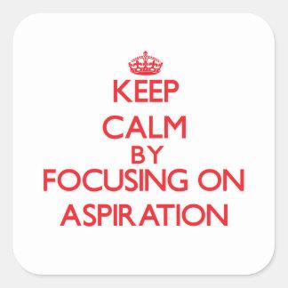 Guarde la calma centrándose en la aspiración pegatina cuadradas