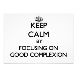 Guarde la calma centrándose en la buena tez comunicados personalizados