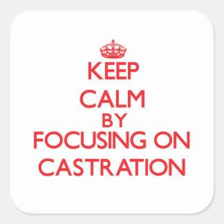 Guarde la calma centrándose en la castración pegatina cuadrada