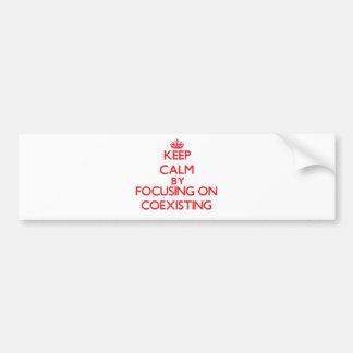 Guarde la calma centrándose en la coexistencia etiqueta de parachoque