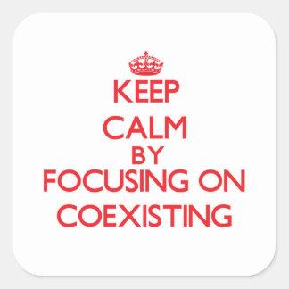 Guarde la calma centrándose en la coexistencia calcomanía cuadradas personalizadas
