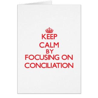 Guarde la calma centrándose en la conciliación tarjetón