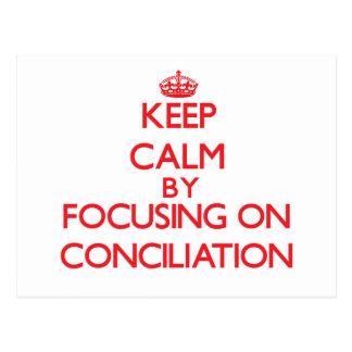 Guarde la calma centrándose en la conciliación tarjetas postales