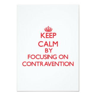 """Guarde la calma centrándose en la contravención invitación 5"""" x 7"""""""