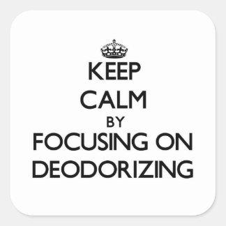 Guarde la calma centrándose en la desodorización pegatina cuadradas
