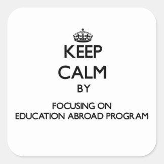 Guarde la calma centrándose en la educación en el pegatina cuadrada