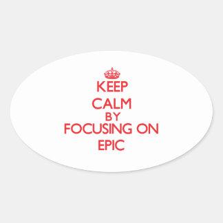 Guarde la calma centrándose en la EPOPEYA Calcomanía Óval Personalizadas