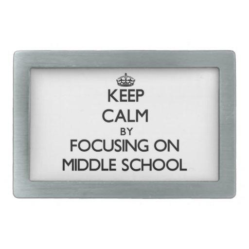 Guarde la calma centrándose en la escuela secundar hebilla de cinturon rectangular