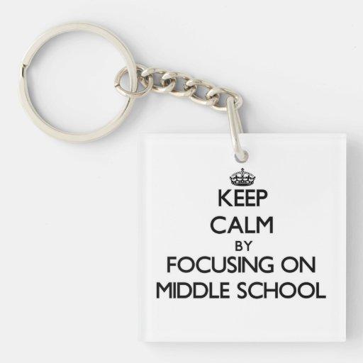 Guarde la calma centrándose en la escuela secundar llavero