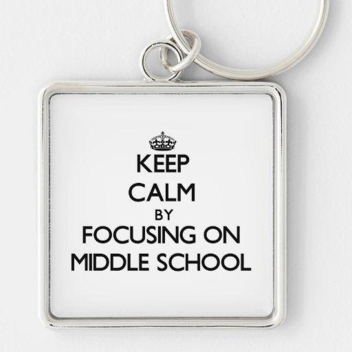 Guarde la calma centrándose en la escuela secundar llaveros personalizados