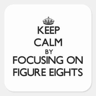 Guarde la calma centrándose en la figura Eights Calcomanías Cuadradass