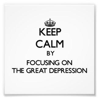 Guarde la calma centrándose en la Gran Depresión Fotografía
