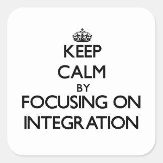 Guarde la calma centrándose en la integración calcomania cuadradas personalizada