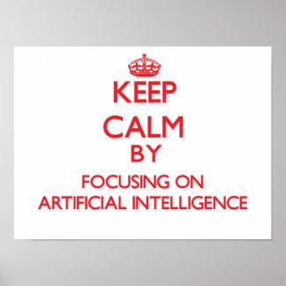 Guarde la calma centrándose en la inteligencia poster