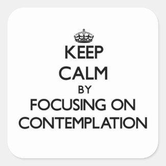 Guarde la calma centrándose en la reflexión pegatina cuadradas