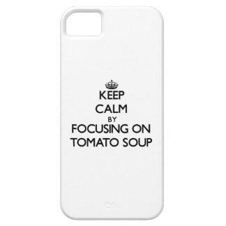 Guarde la calma centrándose en la sopa del tomate iPhone 5 protector