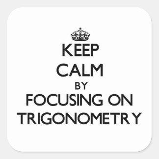 Guarde la calma centrándose en la trigonometría pegatina cuadrada