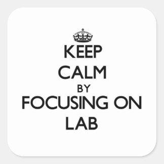 Guarde la calma centrándose en laboratorio calcomanías cuadradas personalizadas