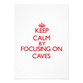 Guarde la calma centrándose en las cuevas invitación personalizada