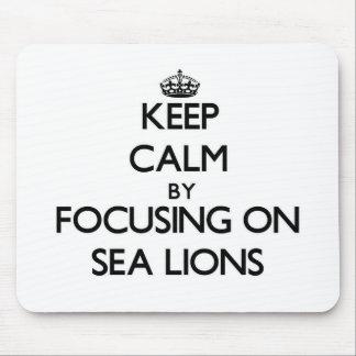 Guarde la calma centrándose en leones marinos tapetes de ratón