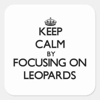 Guarde la calma centrándose en leopardos pegatina cuadrada