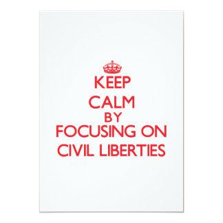Guarde la calma centrándose en libertades civiles invitación personalizada